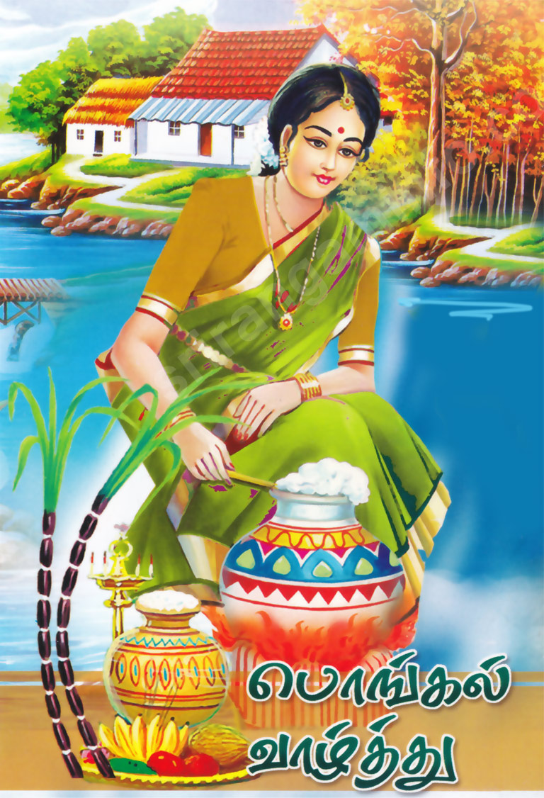 Pongal Valthu 2013 greeting Cards - Pongal cow with pot and man ...