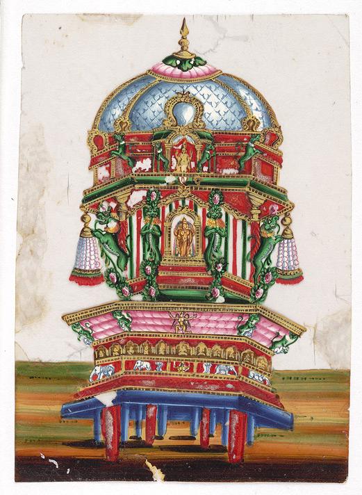 srirangam old painting temple car. Black Bedroom Furniture Sets. Home Design Ideas